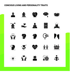 25 concious living and personality traits icon vector
