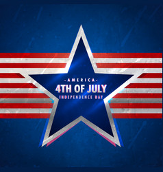 4th july background with star and red stripes vector image