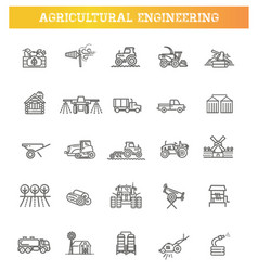 agricultural and farming machines icons set vector image