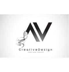 Av letter logo design with black smoke vector