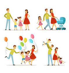 Big family father pregnant mother little baby vector