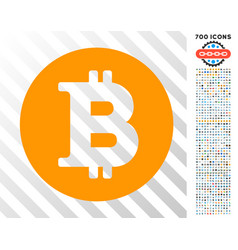 bitcoin coin flat icon with bonus vector image