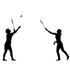 Black silhouette of female badminton player on vector
