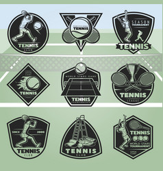 Black vintage tennis labels set vector
