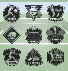 Black vintage tennis labels set vector