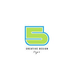 blue green number 5 logo icon design vector image