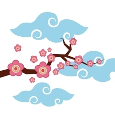 branch with pink flowers vector image