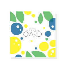 bright summer card template with plums lemons and vector image