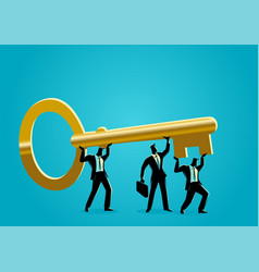 businessmen carrying golden key vector image