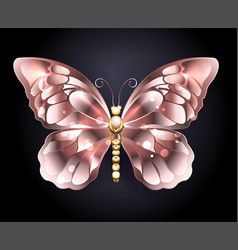 Butterfly in pink gold vector