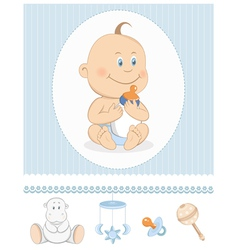 Cartoon baby boy with milk bottle vector image