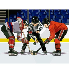 cartoon hockey throwing the puck vector image