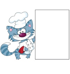 Cat the cook with blank vector