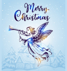 christmas angel flies over houses vector image