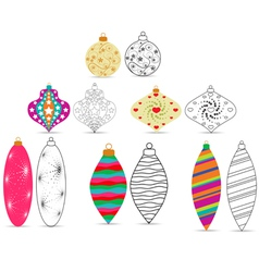 Christmas balls sketches and colourful vector