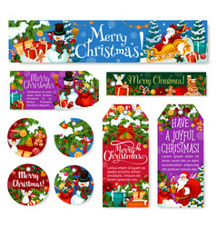 Christmas decoration holiday posters tags vector
