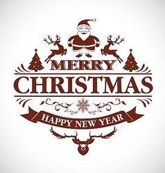 Christmas greeting decorative emblem vector