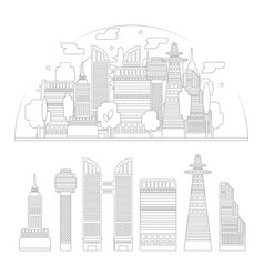 City silhouette and skyscrapers isolated vector