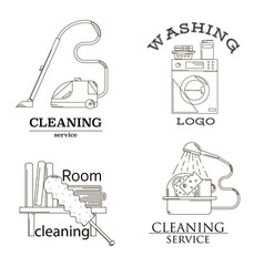 Cleaning service line icon set vector