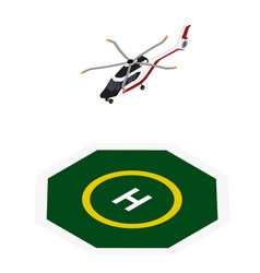 commercial helicopter landing helipad zone vector image