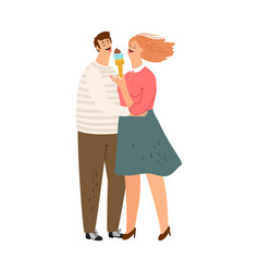 couple eating ice cream vector image