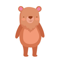 Cute bear standing animal cartoon character vector