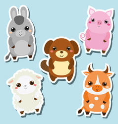 cute kawaii farm animals stickers set vector image