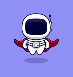 Cute super astronaut cartoon icon flat cartoon vector
