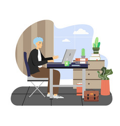 Daily life business man working on laptop vector