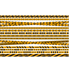 danger police tape caution yellow and black tape vector image