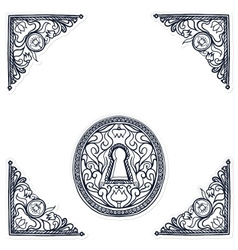 detailed of highly decorated keyhole vector image