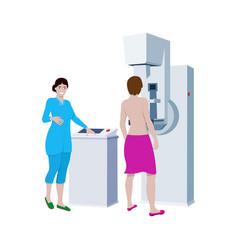 Doctor examines patient on mammography machine vector