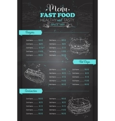 Drawing vertical scetch of fast food menu vector image