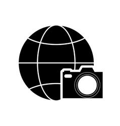 earth globe diagram and camera icon vector image
