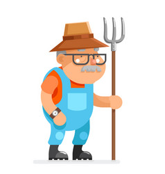 Farmer grandfather adult rancher old age man vector