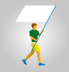 Flag bearer with blank standard in two hands vector