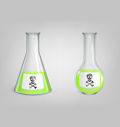 flasks with green poison and skull with bones sign vector image