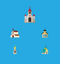 Flat icon building set of architecture catholic vector