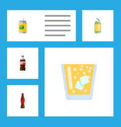 flat icon drink set of beverage bottle drink and vector image