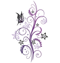 Flowers with butterfly vector