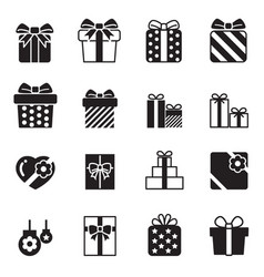Gift box icons set on white background vector