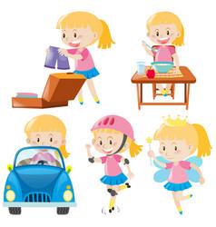 girl in pink doing different activities vector image