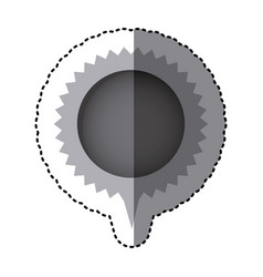 grayscale sticker with circular speech with vector image