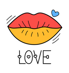 hand draw love lip icon in doodle style for your vector image