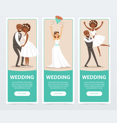 Happy just married couples wedding banners set vector