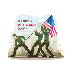 Happy veterans day celebration with soldiers vector