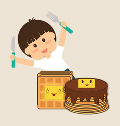 hapy boy holding fork and knife breakfast vector image