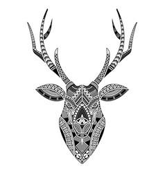 Head deer tattoo ornamented with maori style vector