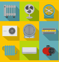 Heating cooling air icon set flat style vector