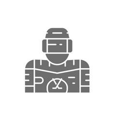 Ice hockey player goalkeeper gray icon vector